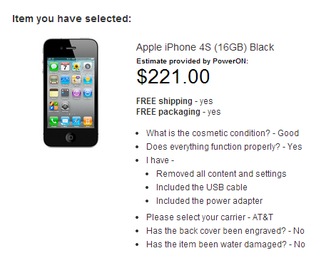 Screenshot of Apple's online iPhone trade-in program