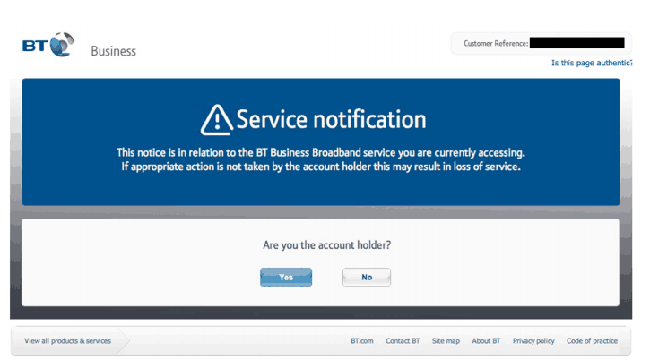 Screenshot of the BT website saying: Service notification, asking: Are you the account holder