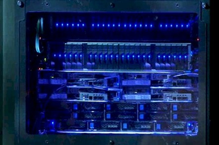 The demo Rack Scale system mixes Atom and Xeon servers with storage and a new switch