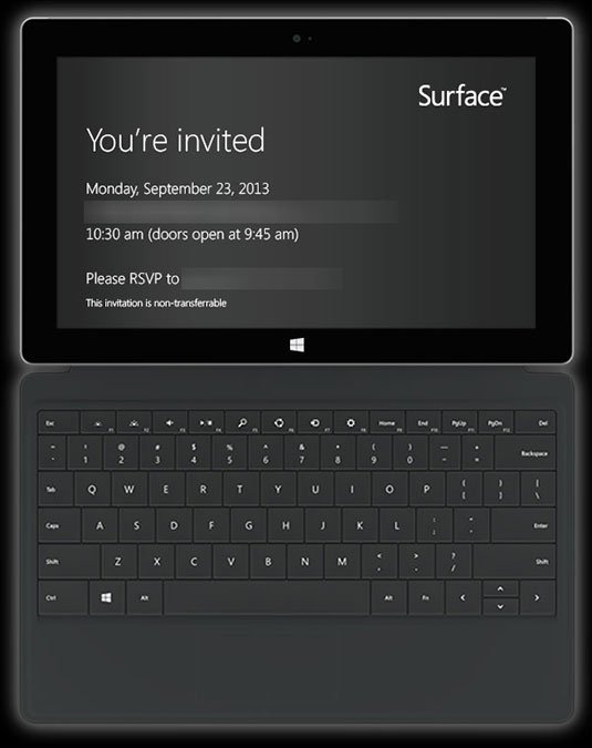 Invitation to Microsoft's Surface event on September 23