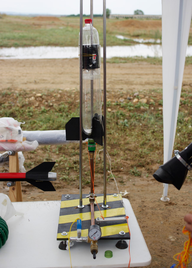 A water rocket on its launch platform