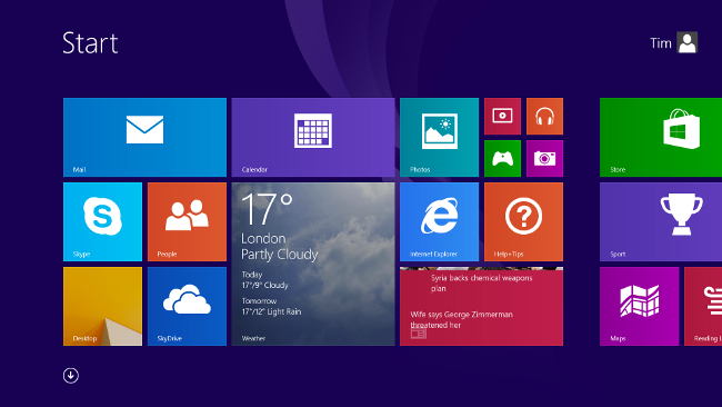 Looks familiar - the Windows 8.1 Start screen, only less straight ...