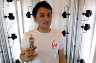 Pankaj Raut shows results of iMakr 3D printing booth