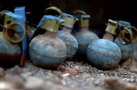 Dummy hand grenades are used by the Marines from the 3rd Low Altitude Air Defense Battalion, for practice before throwing the M-67 Fragment Grenades at the firing range.jpg