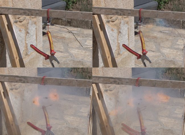 Montage of video stills of the cut-down firing