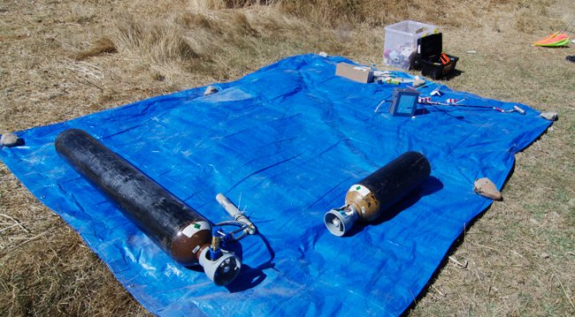 Two bottles of helium at the launch site