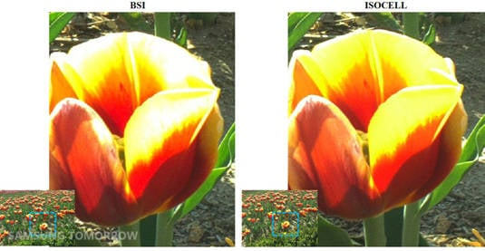 Zoomed-in image comparing BSI to ISOCELL image sensors