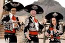 three amigos movie poster + three speaking in tech podcast hosts: Greg Kniereman, Sarah Vela, Ed Saiptech