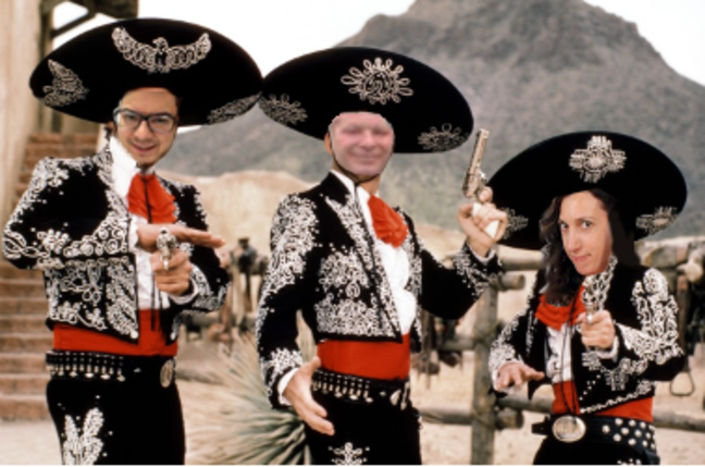 three amigos movie poster + three speaking in tech podcast hosts: Greg Kniereman, Sarah Vela, Ed Saiptech