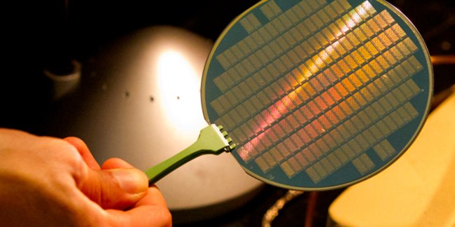 This wafer contains tiny computers using carbon nanotubes, a material that could lead to smaller, more energy-efficient processors.