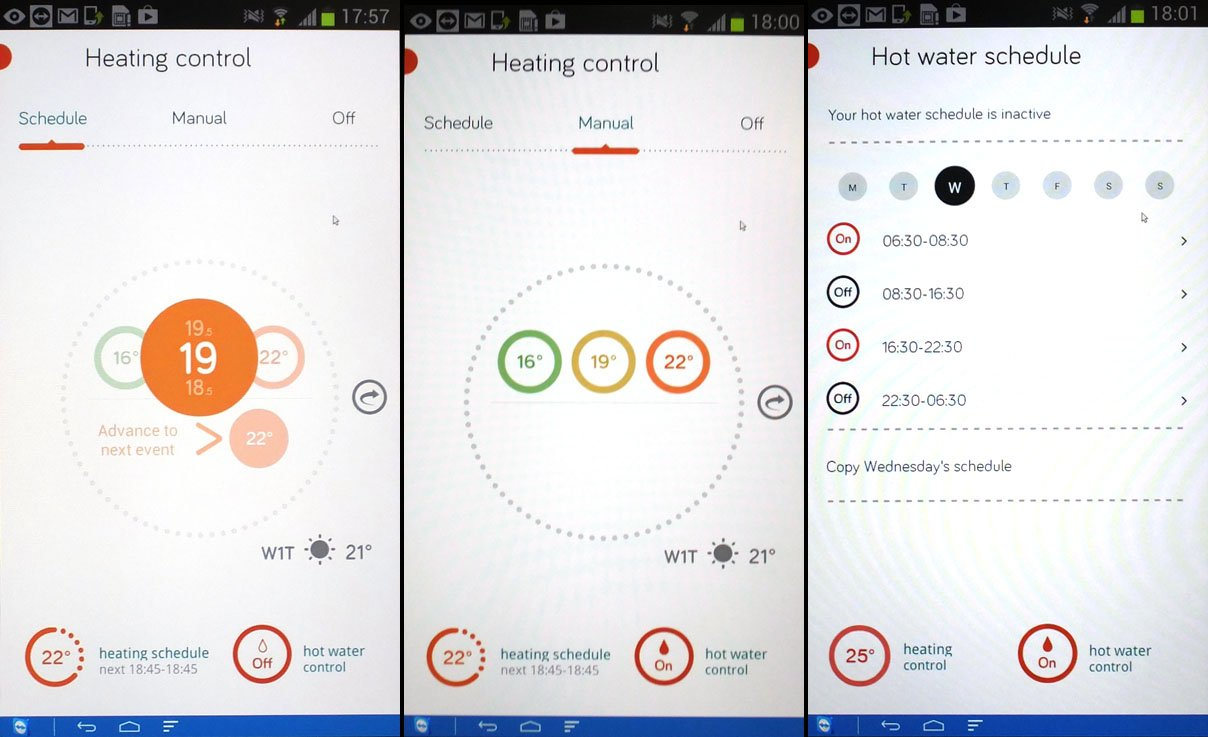 British Gas Hive app controls