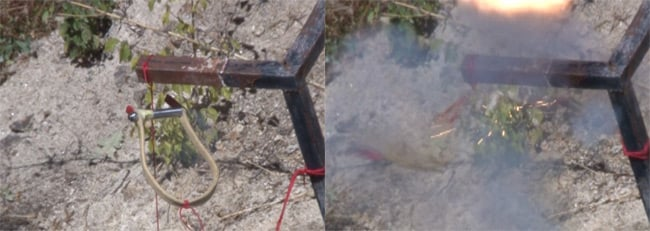 Our large pyro cut-down before and during firing