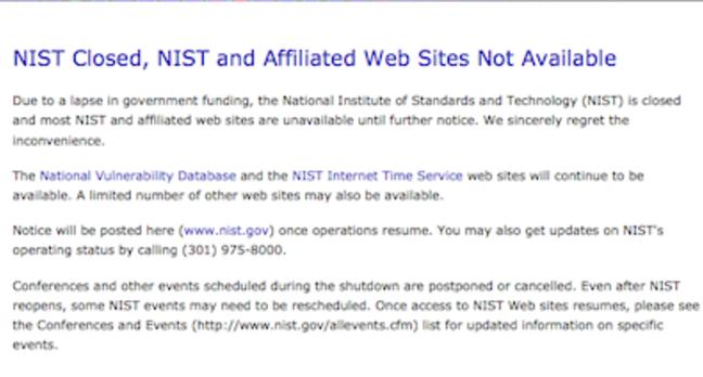 NIST Shutdown