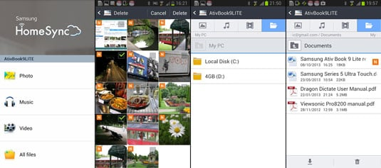 Samsung Galaxy Note II HomeSync pages
