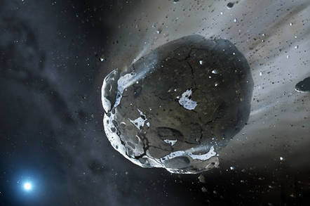 Artist's conception of a watery asteroid being torn apart white dwarf GD 61