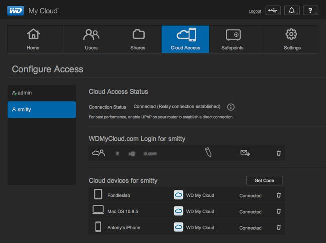 WD My Cloud UI