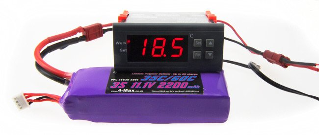 The thermostat and LiPO battery for our rocket motor heater