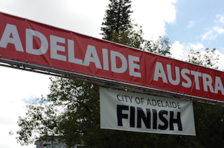 The finish line of the 2013 World Solar Challenge