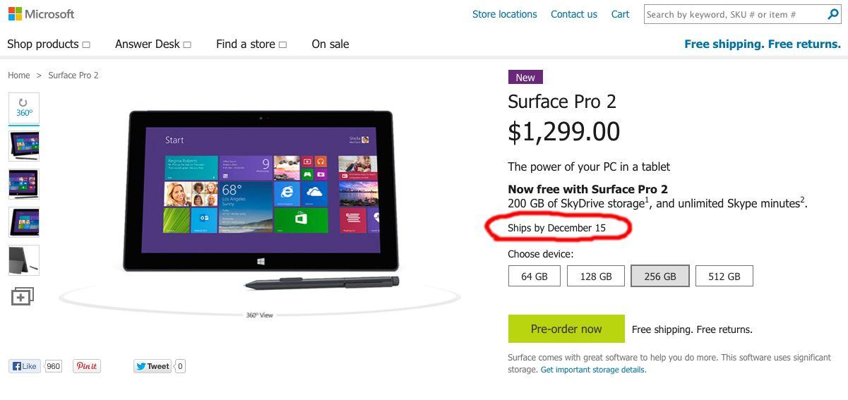 Microsoft shop late Surface