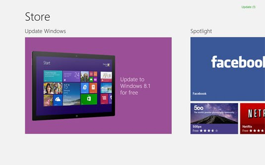 Windows 8.1 update in store screen