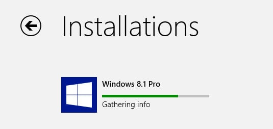 Windows 8.1 update gathering info