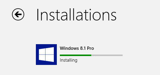 Windows 8.1 update installing