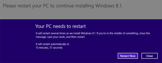 Windows 8.1 update restart