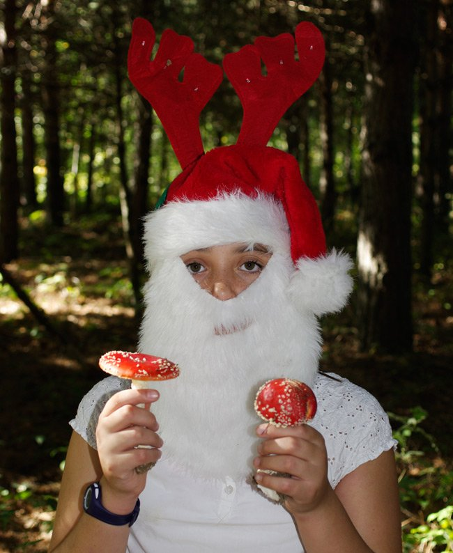 Kati dressed as Santa with reindeer horns, holding a couple of Amanita muscaria