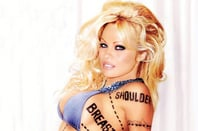 Pamela Anderson with 'breast' and 'shoulder' meat cut dotted lines
