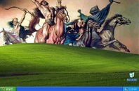 The Four Horsemen Apocalypse ride up the grassy mound that adorns the WinXP desktop