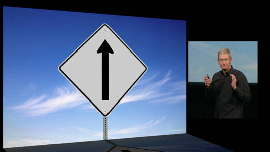 Slide from Tim Cook's presentation at the Apple product roll-out event of October 22, 2013, indicating Apple's single-minded focus