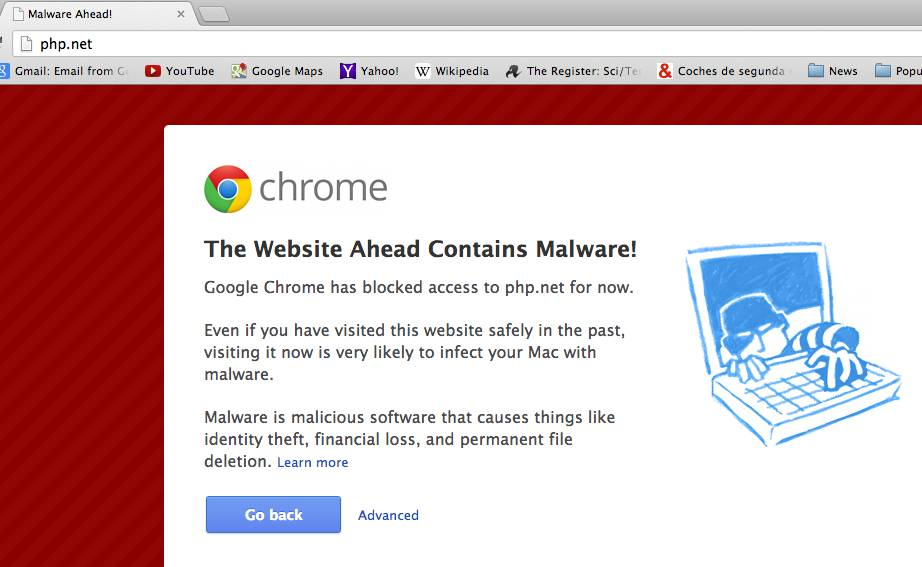 Google Chrome waring