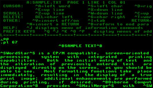 Screenshot of WordStar running on an emulated Osborne 1