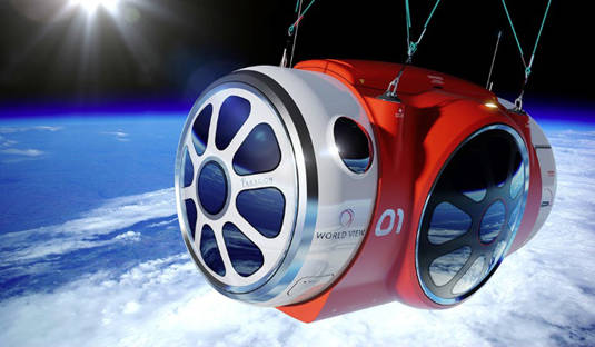 World View Enterprises balloon-gondola space vehicle at the edge of space