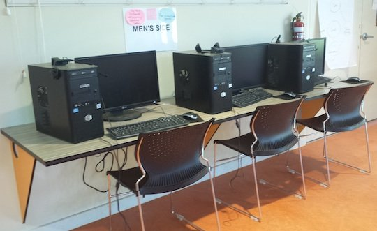 Some of the PCs inside the Wirliyatjarrayi Learning Centre