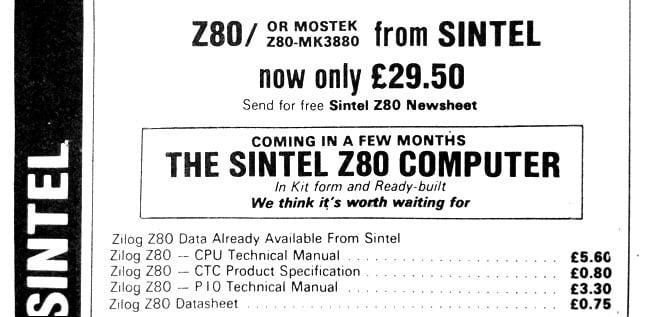 Sintel Z80 Computer advert
