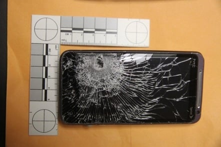 The shattered screen of the smartphone. Pic: Winter Garden police