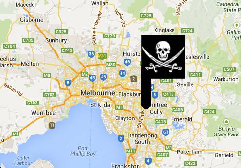 Jolly Roger over Melbourne Map