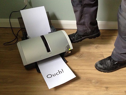 Sticking the boot in on inkjet printer