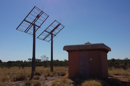 An abandoned Telstra facility on the Stuart Highway