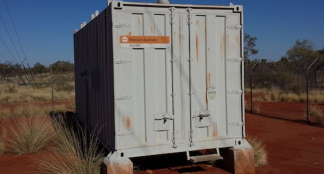 A Telecom comms container in the desert
