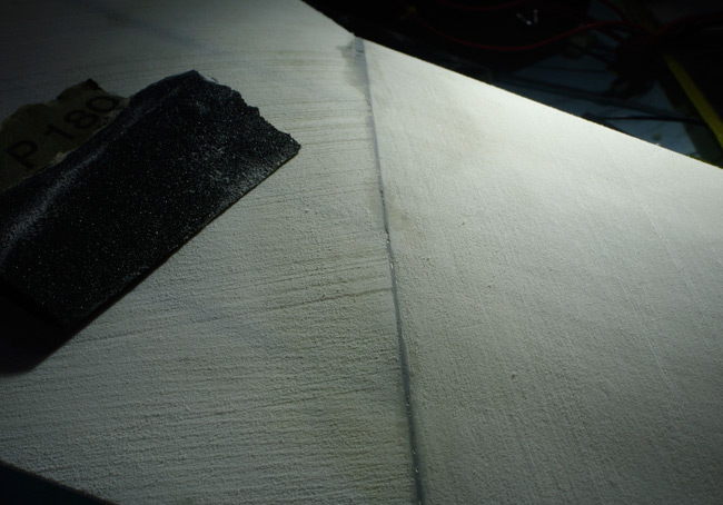 A close-up of the sanded wing surface