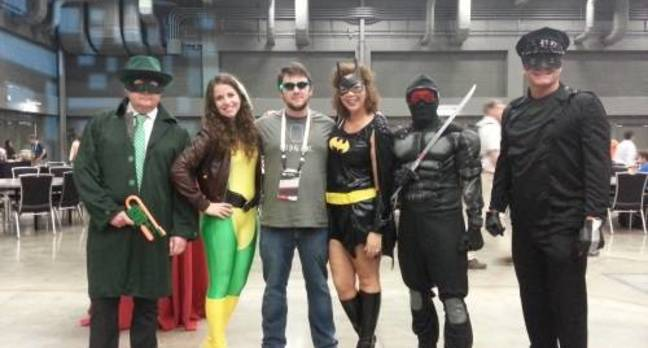 Josh and some superheroes at Spiceworld 2013