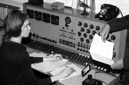 Delia Derbyshire behind the custom built 20-channel mixing desk