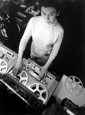 Delia Derbyshire edits on a Philips EL3503