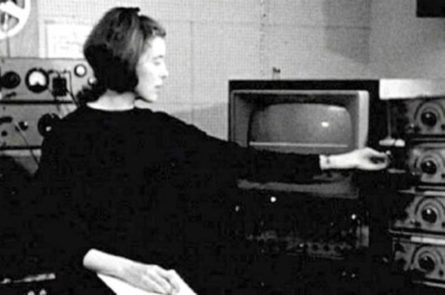 Delia Derbyshire tweaks a Jason oscillator