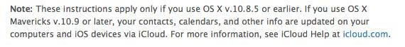 Apple Mavericks sync warning
