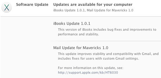 iBooks and Mail for Mavericks updates as listed in Apple's App Store Updates pane