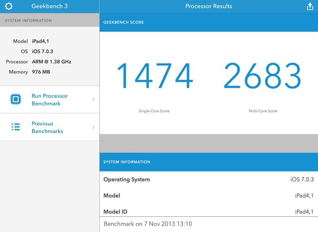 Apple iPad Air Geekbench 3