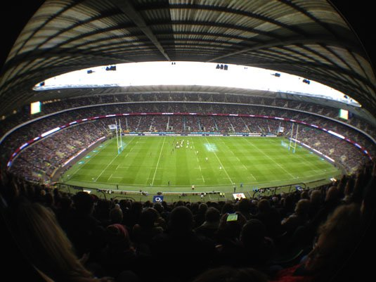 iPhone Olloclip Fisheye Twickenham Rugby Ground - match in play